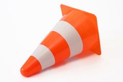 Cone. Close-up of a traffic cone over white background Stock Photos