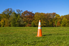 Cone. Safety orange cone on the lawn in the Prospect Park, New York stock images