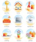 Ícone ajustado - artigos relacionados home. Imagem de Stock