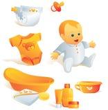 Ícone ajustado - higiene do bebê. Illus Imagens de Stock Royalty Free