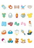 Ícone ajustado - produtos do bebê Fotografia de Stock Royalty Free