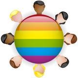 Ícone alegre LGBT da multidão do grupo da bandeira Fotografia de Stock Royalty Free
