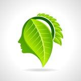 ícone amigável do eco com folha e cabeça humana Fotos de Stock