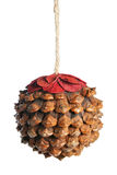 Cone as Christmas ball. Isolated over white background Royalty Free Stock Photos