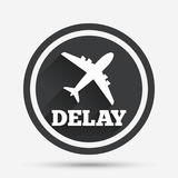 Ícone atrasado do sinal do voo Símbolo do atraso do aeroporto Imagens de Stock Royalty Free