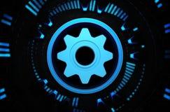 Ícone azul dos trabalhos de equipa no espaço da tecnologia Fotos de Stock Royalty Free