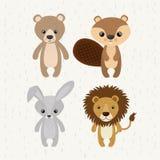 Ícone bonito ajustado dos animais selvagens dos animais Fotografia de Stock