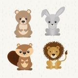 Ícone bonito ajustado dos animais selvagens dos animais Imagens de Stock Royalty Free