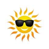 Ícone bonito do sol do verão dos desenhos animados do vetor Imagens de Stock Royalty Free