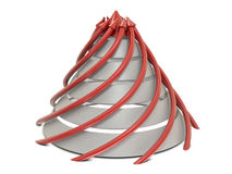 Cone chart red-white with spiral red arrows Stock Photos