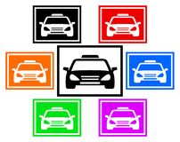 Ícone colorido ajustado com carro do táxi Imagem de Stock