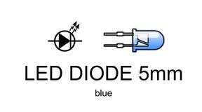 Ícone conduzido e símbolo do diodo, azuis Fotografia de Stock