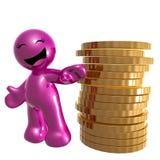 Ícone cor-de-rosa engraçado com moedas de ouro Fotos de Stock