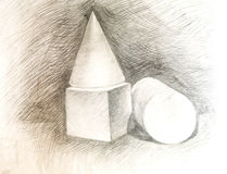 Cone, cube, the cylinder. Drawing academic Stock Photography