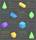 Cone Cuboid and Cube, Eight Geometric Posters. Pentagrammic pentagonal and triangular prisms, green octahedron and square pyramid, vector illustration Stock Photos