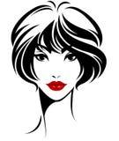 Ícone curto do penteado das mulheres, cara das mulheres do logotipo no fundo branco Fotos de Stock