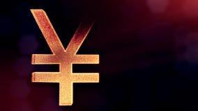 ?cone da anima??o ou emblema do logotipo do iene japon?s Fundo feito de part?culas do fulgor como o holograma vitrtual 3D brilhan ilustração stock