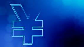 ?cone da anima??o ou emblema do logotipo do iene japon?s Fundo feito de part?culas do fulgor como o holograma vitrtual 3D brilhan ilustração royalty free