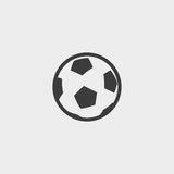 Ícone da bola de futebol em um projeto liso na cor preta Ilustração EPS10 do vetor Imagem de Stock Royalty Free