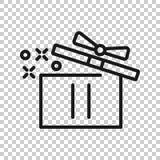 ?cone da caixa de presente no estilo transparente Ilustra??o m?gica do vetor do caso no fundo isolado r ilustração do vetor