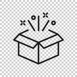 ?cone da caixa de presente no estilo transparente Ilustra??o m?gica do vetor do caso no fundo isolado r ilustração stock