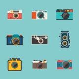 Ícone da câmera do vintage no fundo azul Imagem de Stock Royalty Free