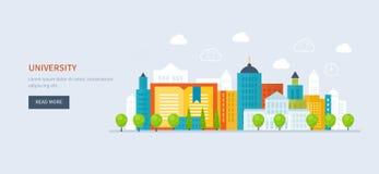 Ícone da construção da escola e da universidade Urbano Imagem de Stock