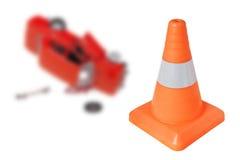 Cone da emergência e um carro Foto de Stock