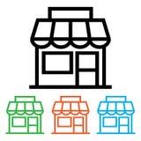 ?cone da loja, parte dianteira da loja Vers?es do preto e da cor Ilustra??o do vetor ilustração do vetor