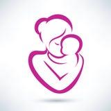 Ícone da mamã e do bebê Fotos de Stock Royalty Free