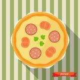 Ícone da pizza com sombras longas Fotos de Stock