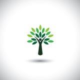 Ícone da árvore dos povos com folhas verdes Fotos de Stock