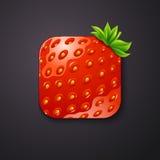 Ícone da textura da morango estilizado como o app móvel Illustr do vetor Fotos de Stock Royalty Free