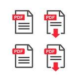 Ícone da transferência do arquivo do pdf Documente o texto, informação do formato da Web do símbolo, ilustração Fotografia de Stock Royalty Free