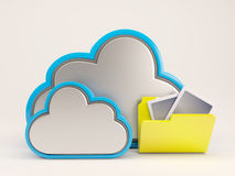ícone de 3D Cloud Drive Fotografia de Stock Royalty Free