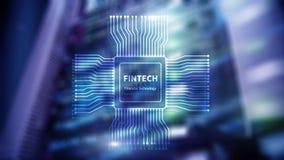 ?cone de Fintech no fundo financeiro abstrato da tecnologia ?cone do processador central no fundo borrado do centro de dados da s ilustração royalty free