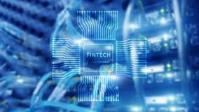 ?cone de Fintech no fundo financeiro abstrato da tecnologia ?cone do processador central no fundo borrado do centro de dados da s ilustração stock