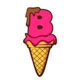 Cone de gelado da letra B Imagens de Stock