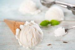 Cone de gelado do leite da baunilha do close up fotos de stock royalty free