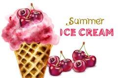 Cone de gelado do verão com vetor da aquarela da cereja Sobremesas suculentas coloridas ilustração royalty free