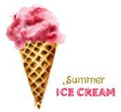 Cone de gelado do ver?o com vetor da aquarela da cereja Sobremesas suculentas coloridas ilustração do vetor