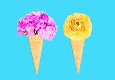 Cone de gelado dois com as flores sobre o fundo colorido azul fotografia de stock royalty free
