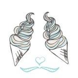 Cone de gelado torcido Sobremesa estilizado Ilustração do vetor Fundo doce da sobremesa Foto de Stock Royalty Free