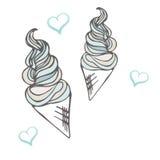 Cone de gelado torcido Sobremesa estilizado Ilustração do vetor Fundo doce da sobremesa Imagens de Stock