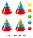 Cone diagram set. Illustration on white background stock illustration