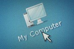 Ícone do computador de relação e um cursor do rato da mão Fotografia de Stock