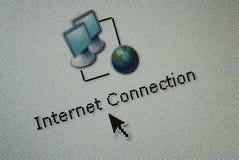 Ícone do computador de relação e um cursor do rato da mão Fotos de Stock Royalty Free