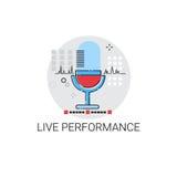 Ícone do concerto do desempenho da vida do microfone Fotos de Stock