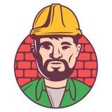 ?cone do construtor da cor no capacete no fundo dos tijolos contramestre adulto com borada inscreido em um c?rculo ilustração stock