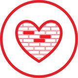 Ícone do coração do vetor e da parede de pedra Fotos de Stock Royalty Free